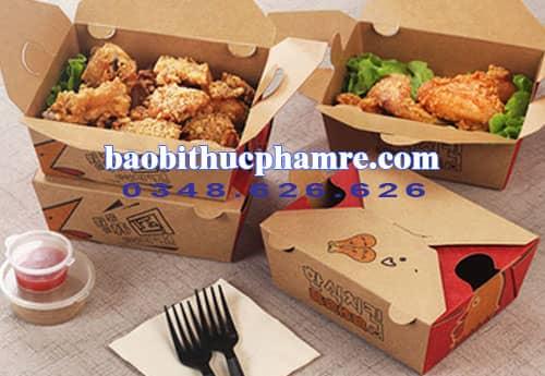 Hộp gà kraft hộp giấy vuông 4 cánh 1.3